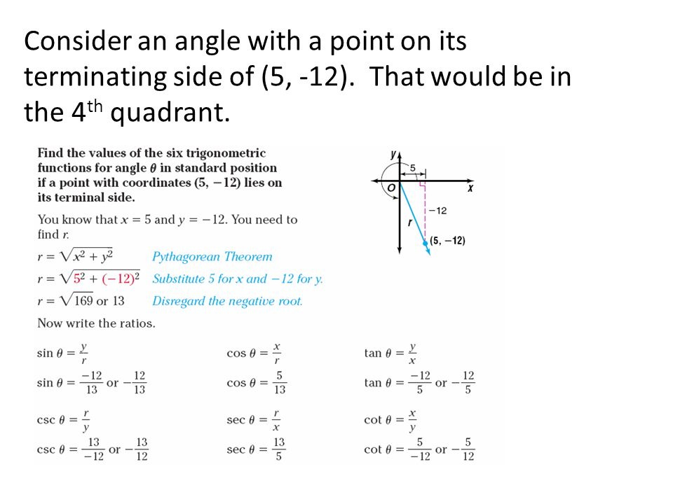 Consider an angle with a point on its terminating side of (5, -12)