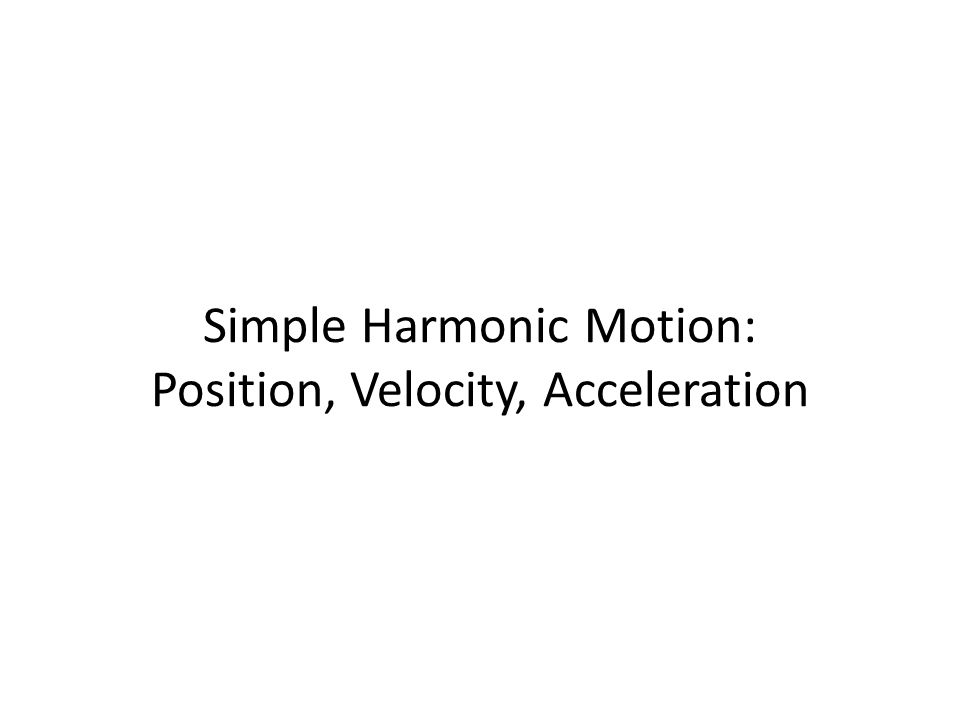 Simple Harmonic Motion: Position, Velocity, Acceleration