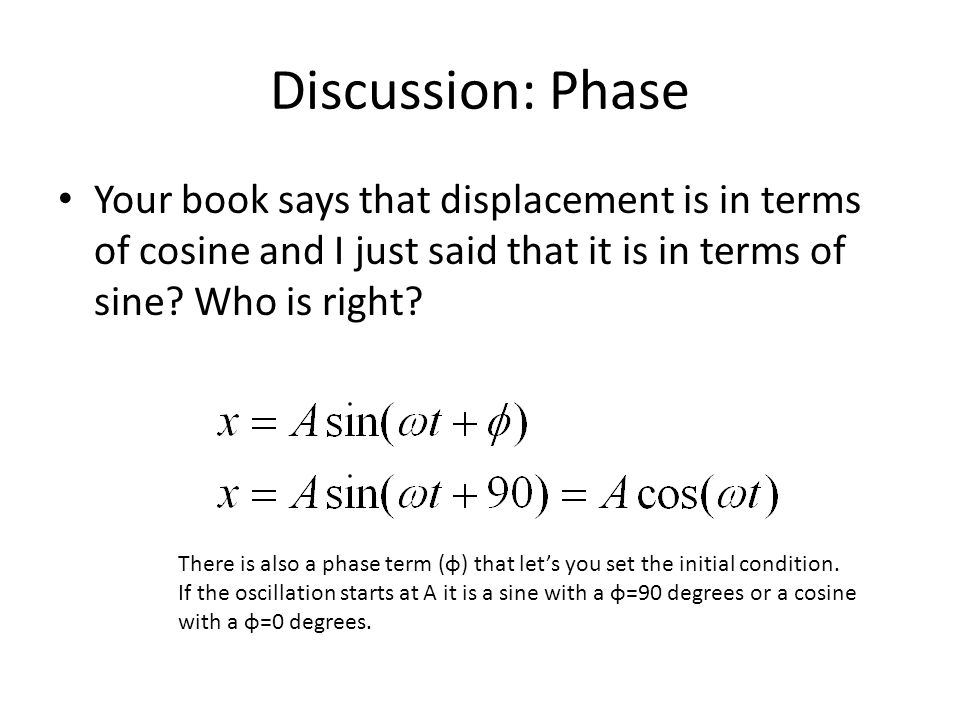 Discussion: Phase Your book says that displacement is in terms of cosine and I just said that it is in terms of sine Who is right