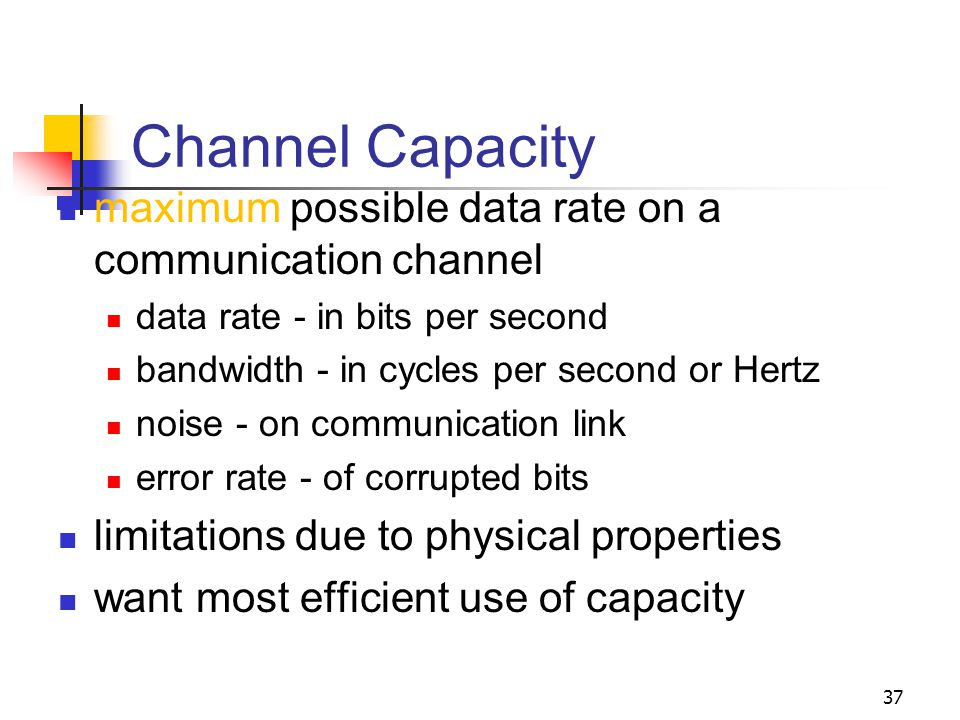Channel Capacity maximum possible data rate on a communication channel