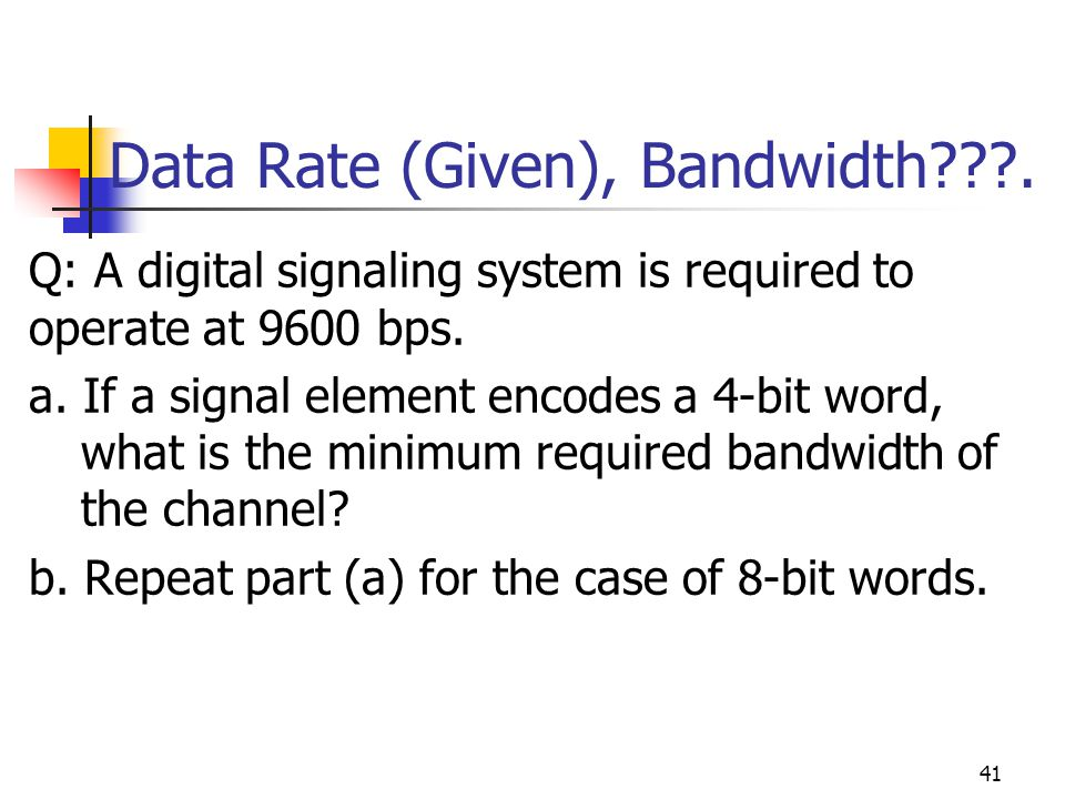 data rate and bandwidth relationship quizzes