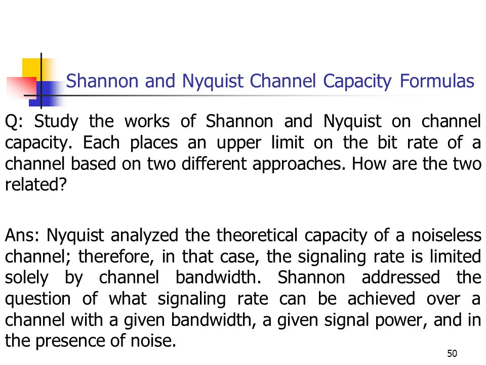 Shannon and Nyquist Channel Capacity Formulas