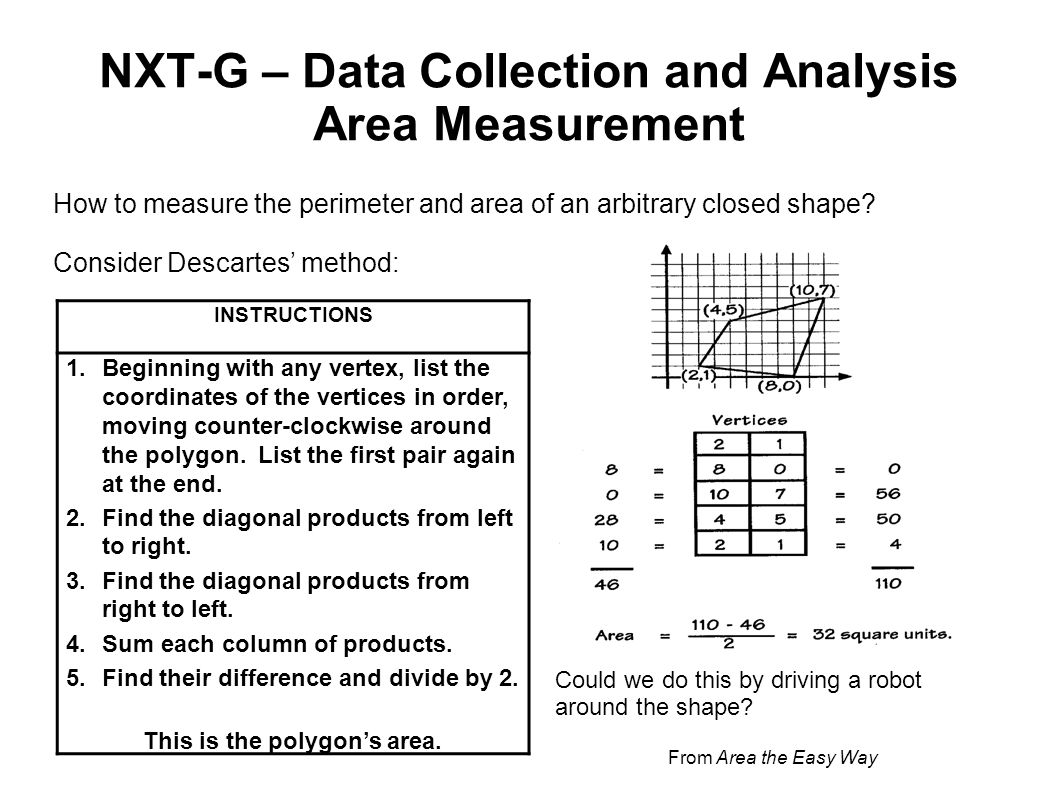 NXT-G – Data Collection and Analysis Area Measurement
