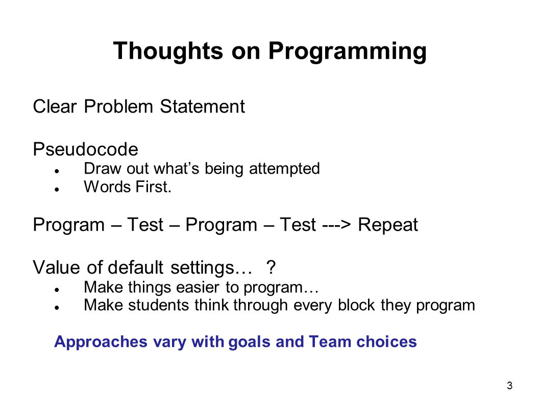 Thoughts on Programming