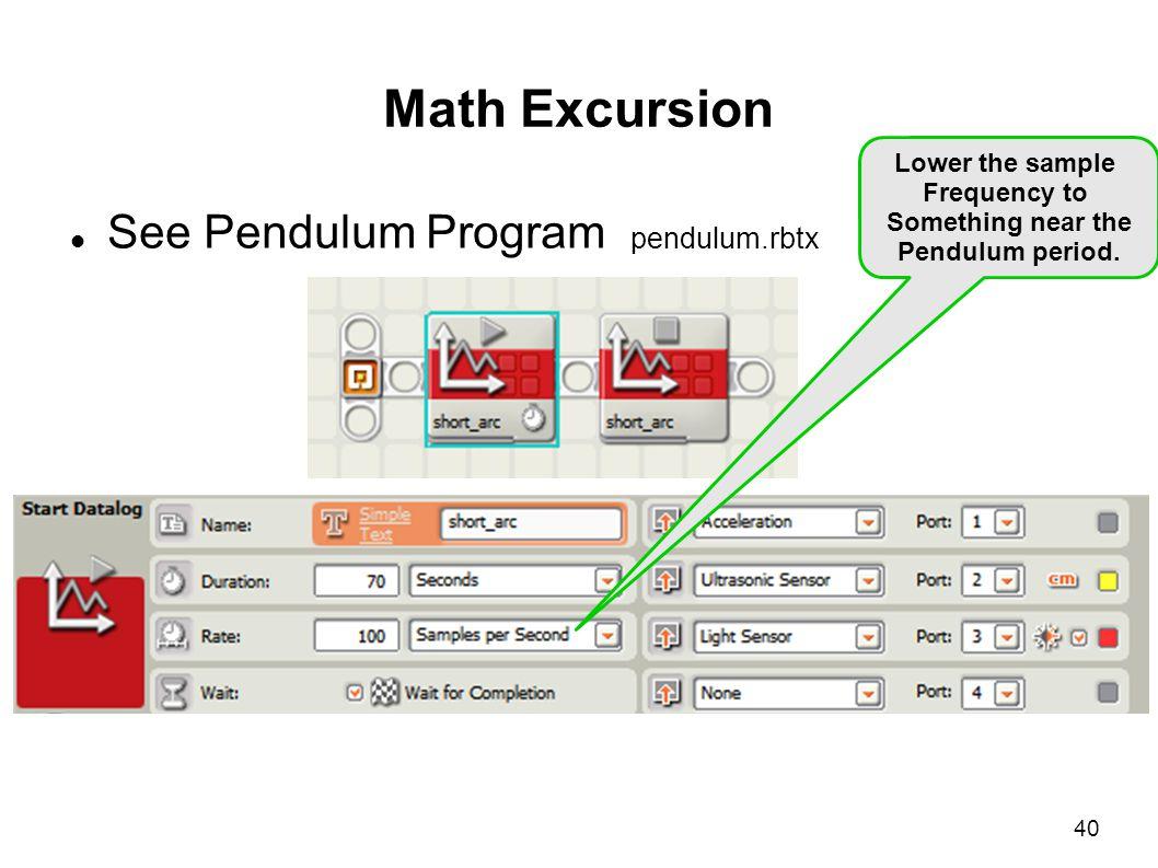 Math Excursion See Pendulum Program pendulum.rbtx Lower the sample