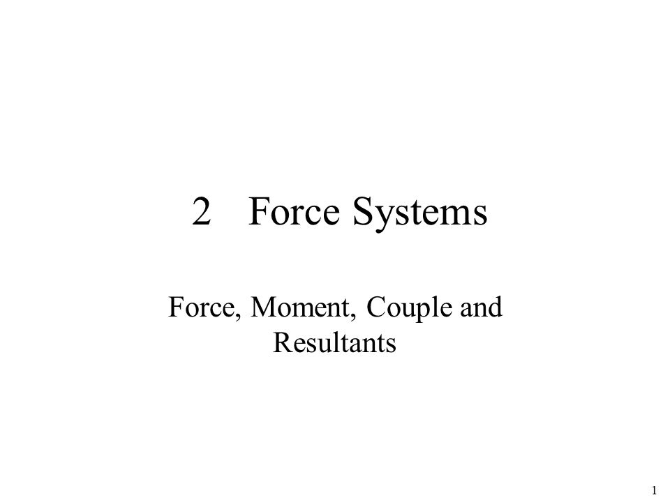 Force, Moment, Couple and Resultants
