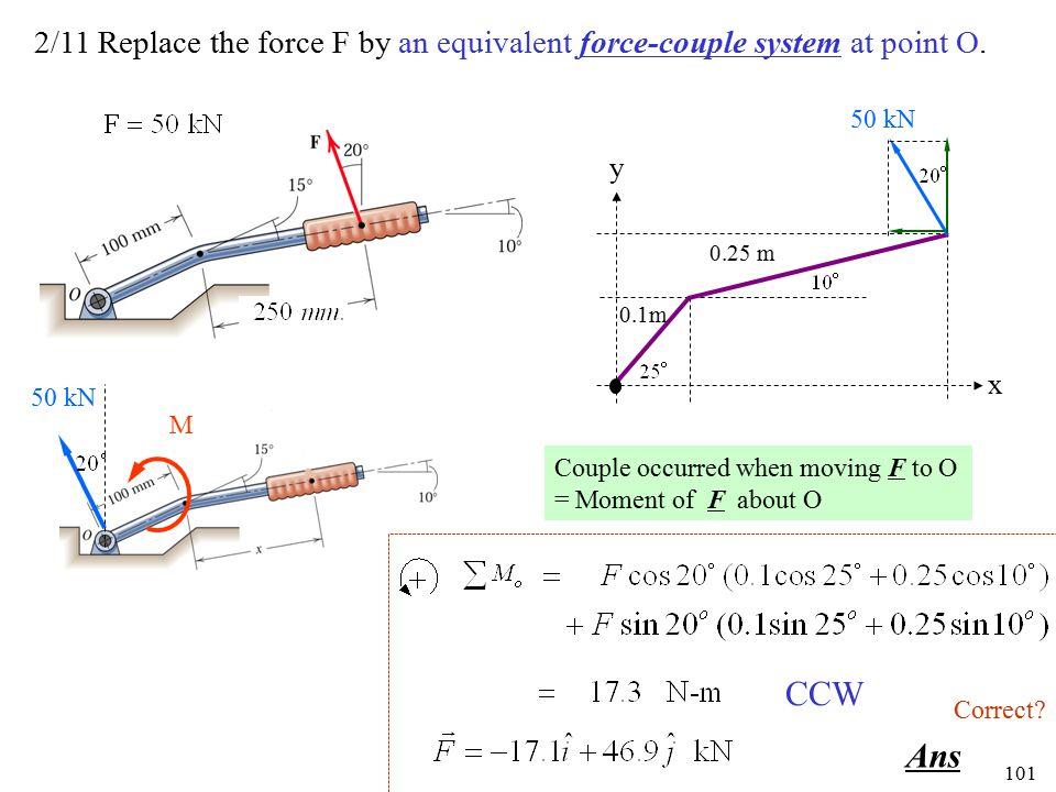 2/11 Replace the force F by an equivalent force-couple system at point O.