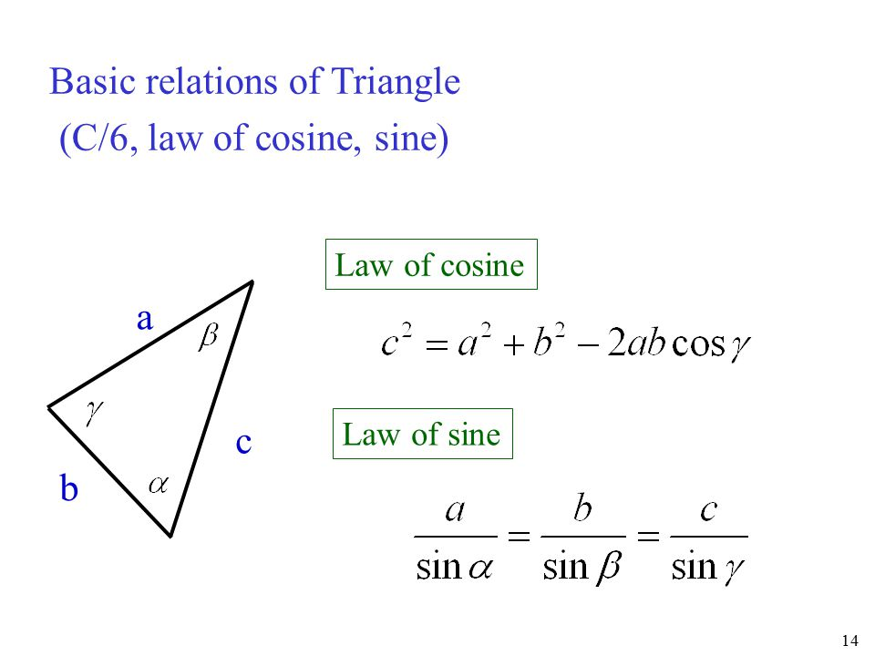 Basic relations of Triangle (C/6, law of cosine, sine)