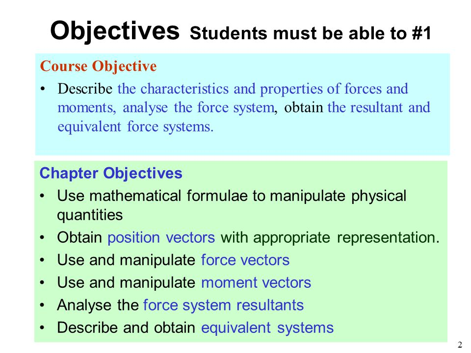 Objectives Students must be able to #1