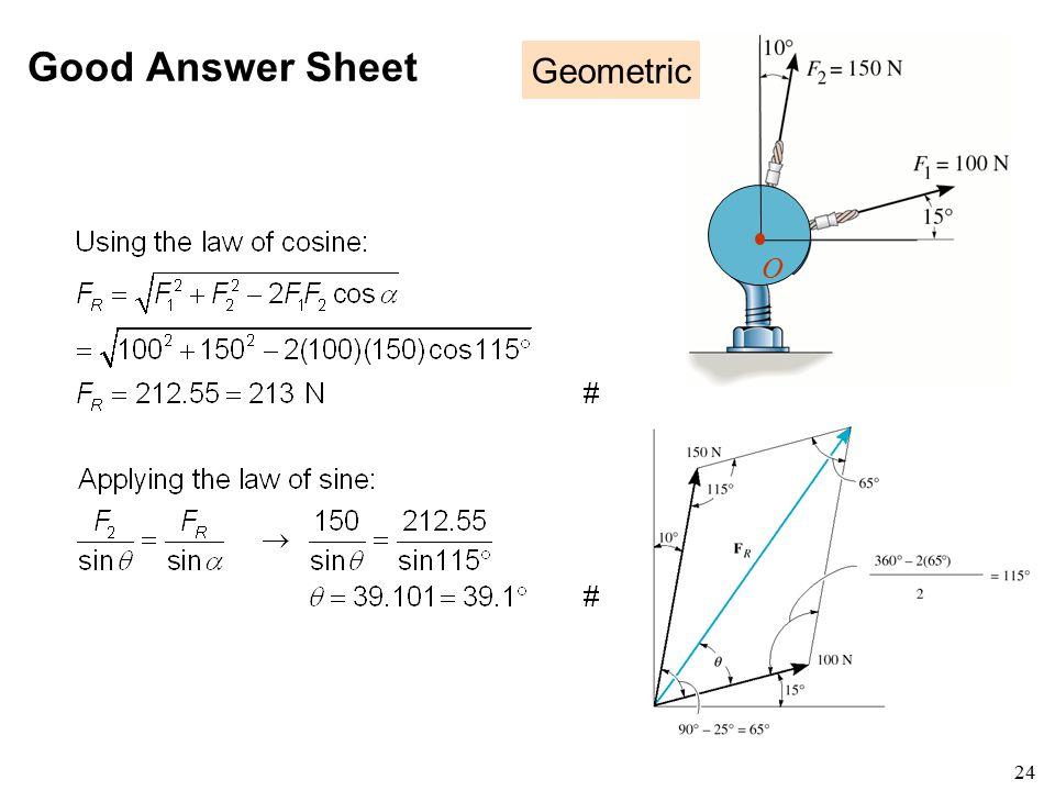 Good Answer Sheet Geometric O a