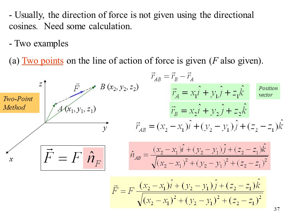 (a) Two points on the line of action of force is given (F also given).