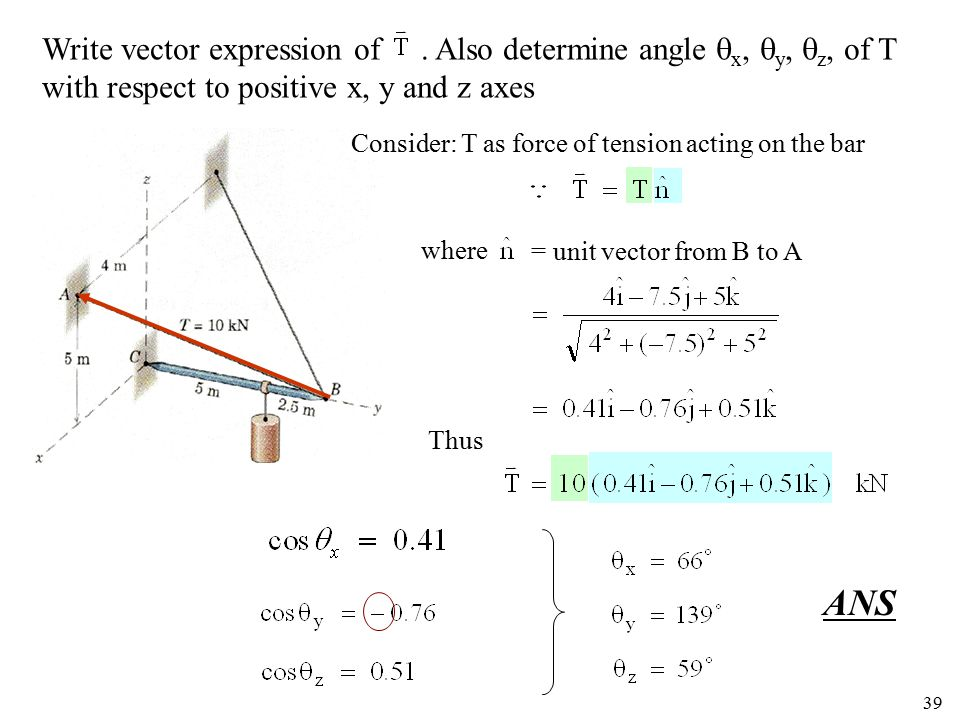 ANS Write vector expression of . Also determine angle x, y, z, of T