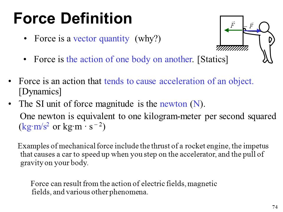 Force Definition Force is a vector quantity (why )