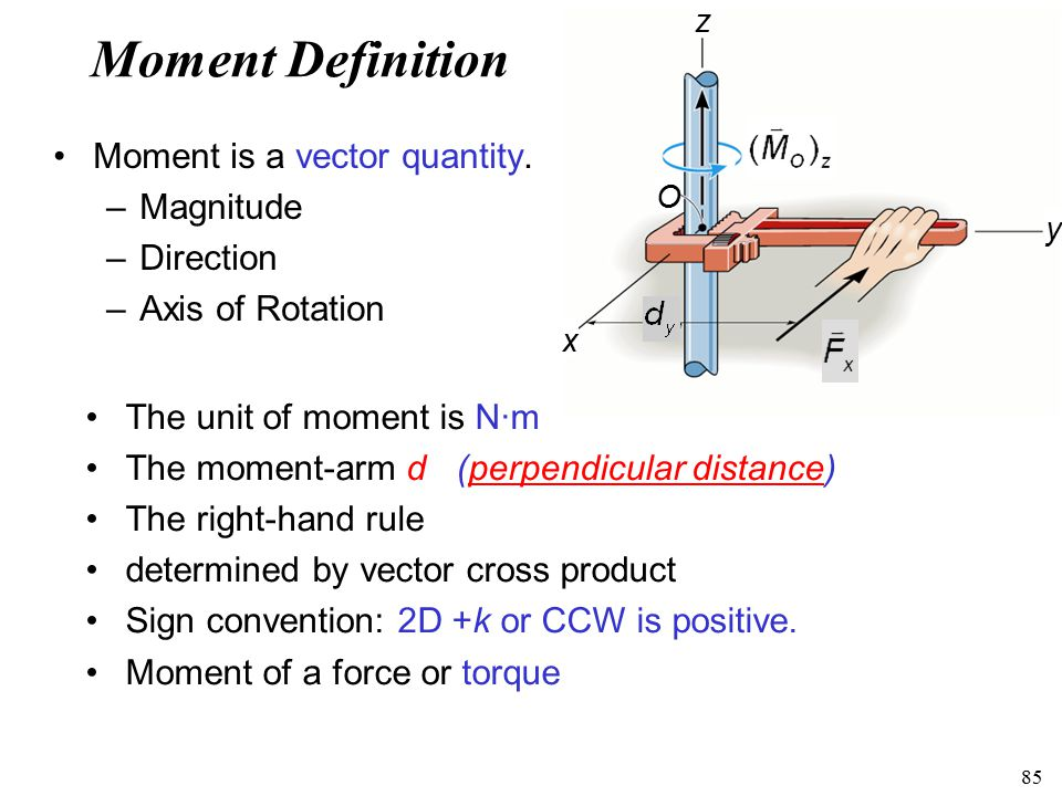 Moment Definition Moment is a vector quantity. Magnitude Direction