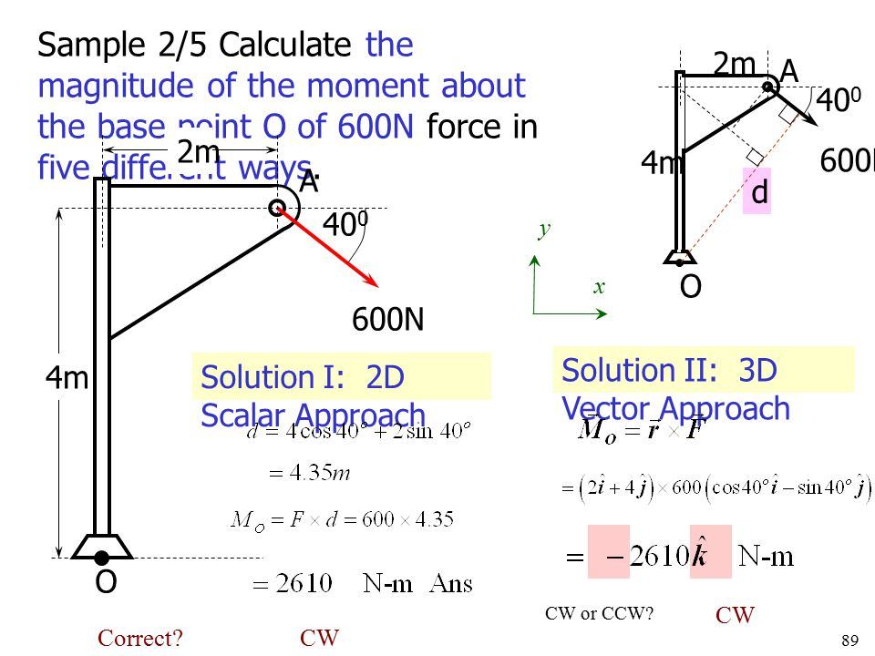 Sample 2/5 Calculate the magnitude of the moment about the base point O of 600N force in five different ways.