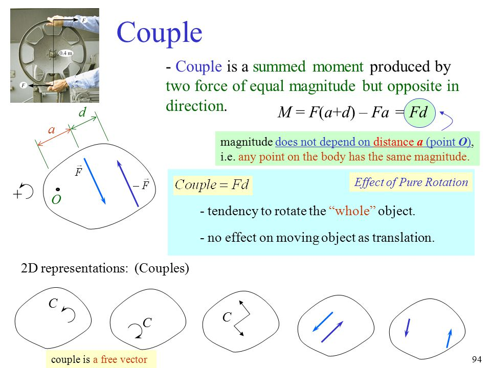 Couple - Couple is a summed moment produced by two force of equal magnitude but opposite in direction.