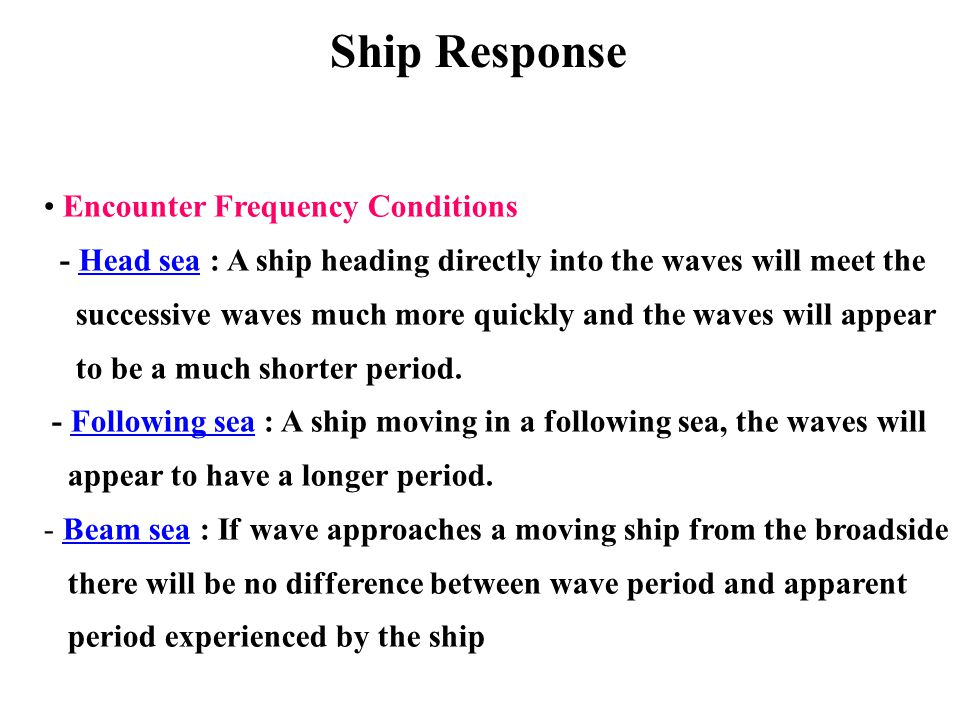 Ship Response Encounter Frequency Conditions