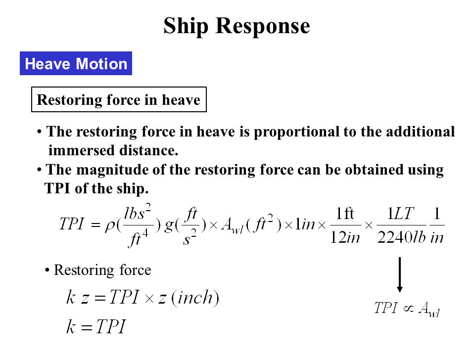 Ship Response Heave Motion Restoring force in heave