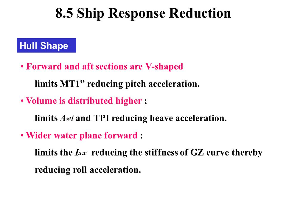 8.5 Ship Response Reduction