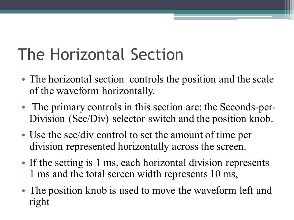 The Horizontal Section