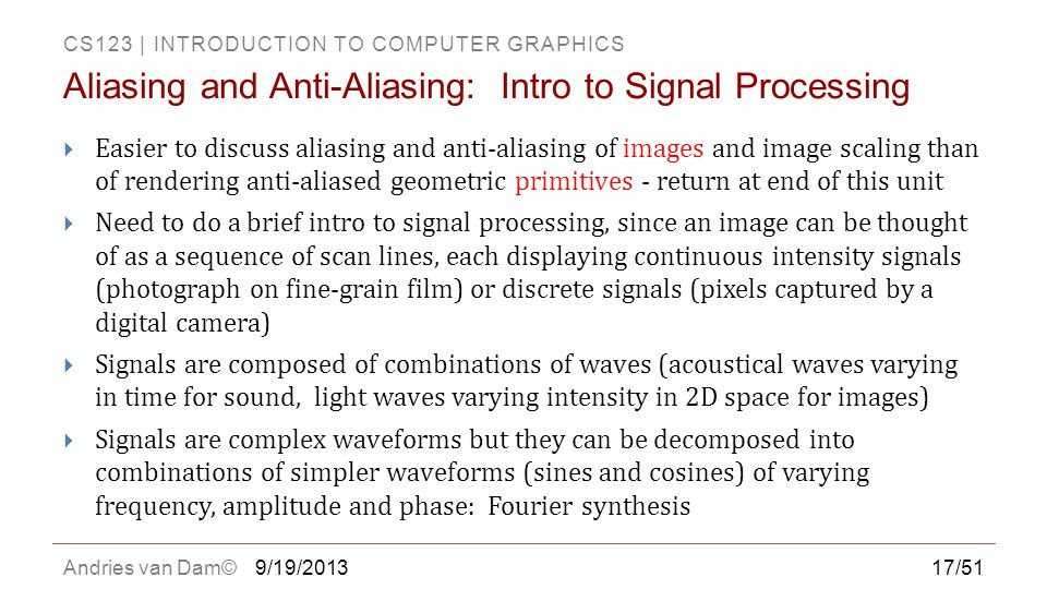 Aliasing and Anti-Aliasing: Intro to Signal Processing