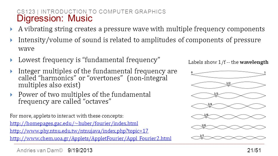 Digression: Music A vibrating string creates a pressure wave with multiple frequency components.