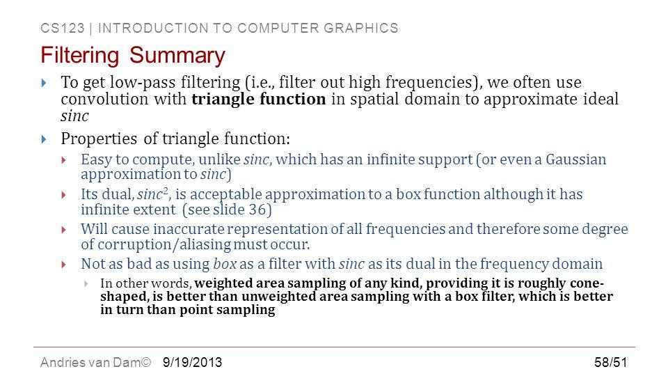 Filtering Summary