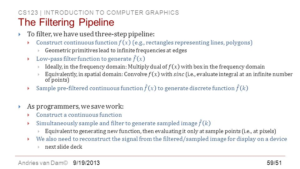 The Filtering Pipeline