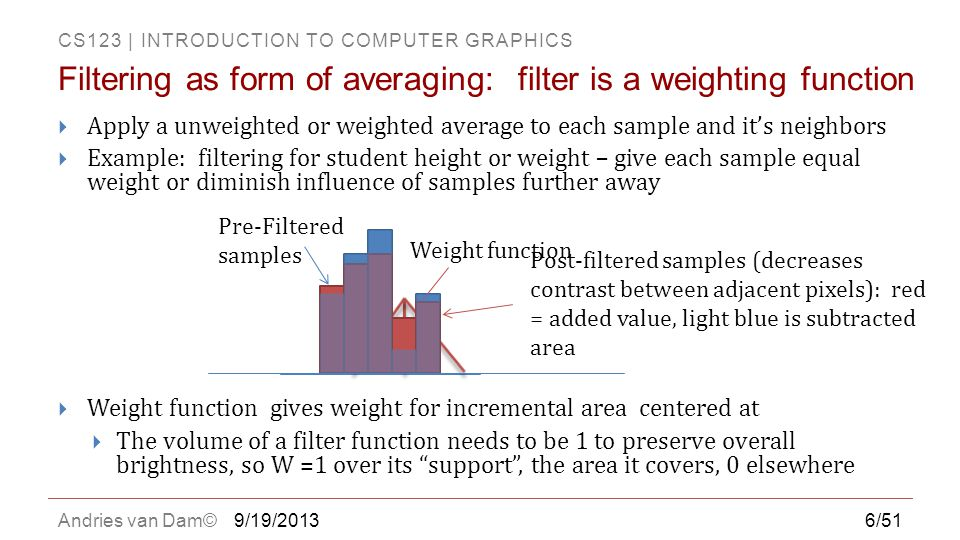 Filtering as form of averaging: filter is a weighting function