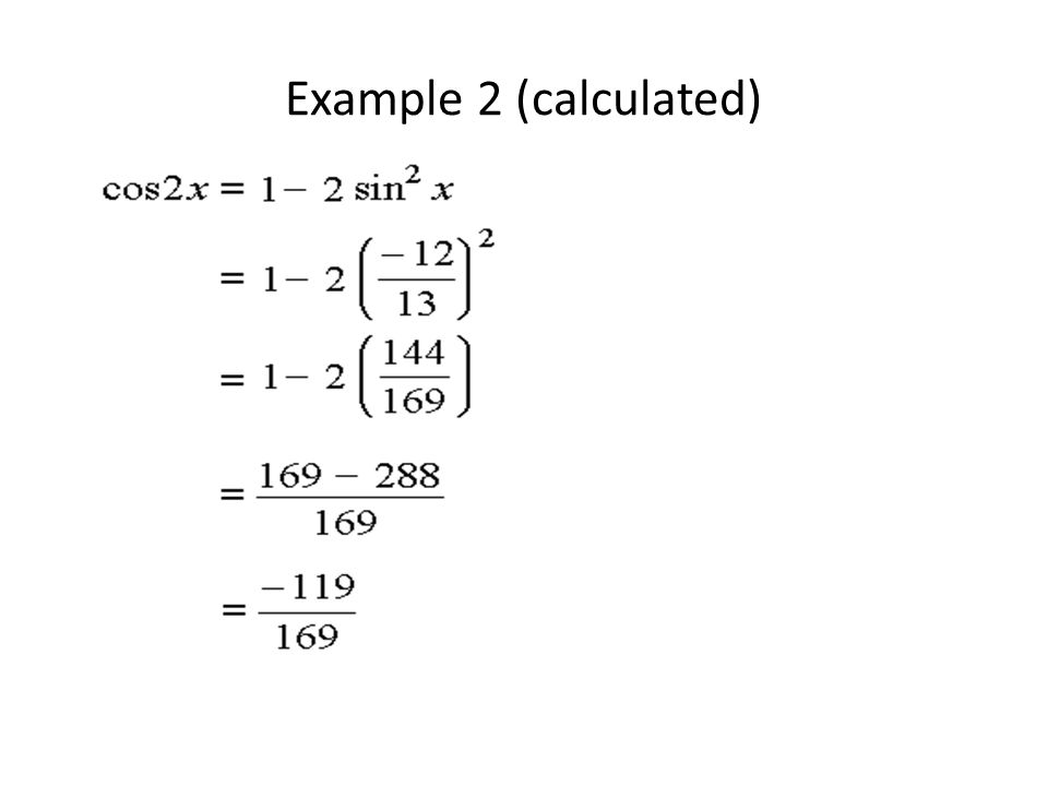 Example 2 (calculated)