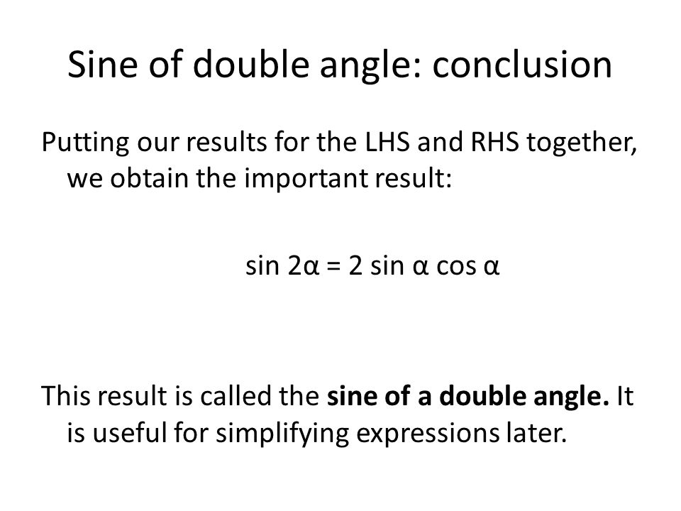 Sine of double angle: conclusion