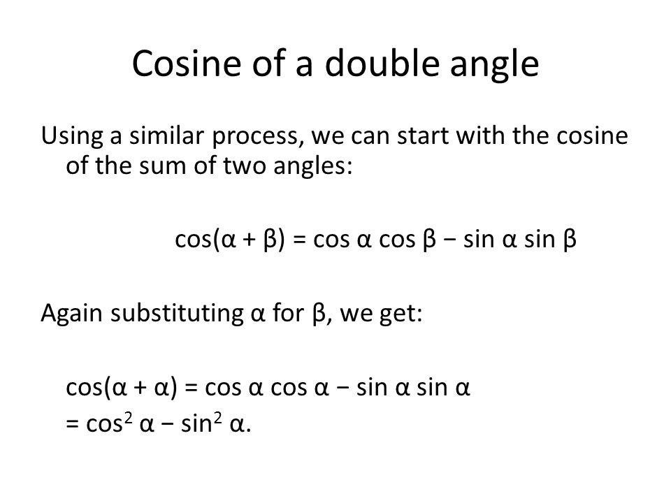 Cosine of a double angle