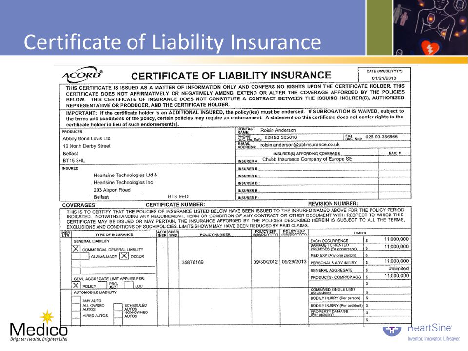 Certificate of Liability Insurance