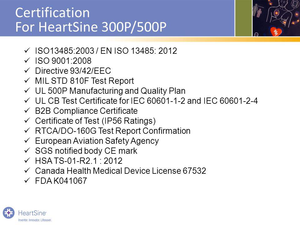 Certification For HeartSine 300P/500P