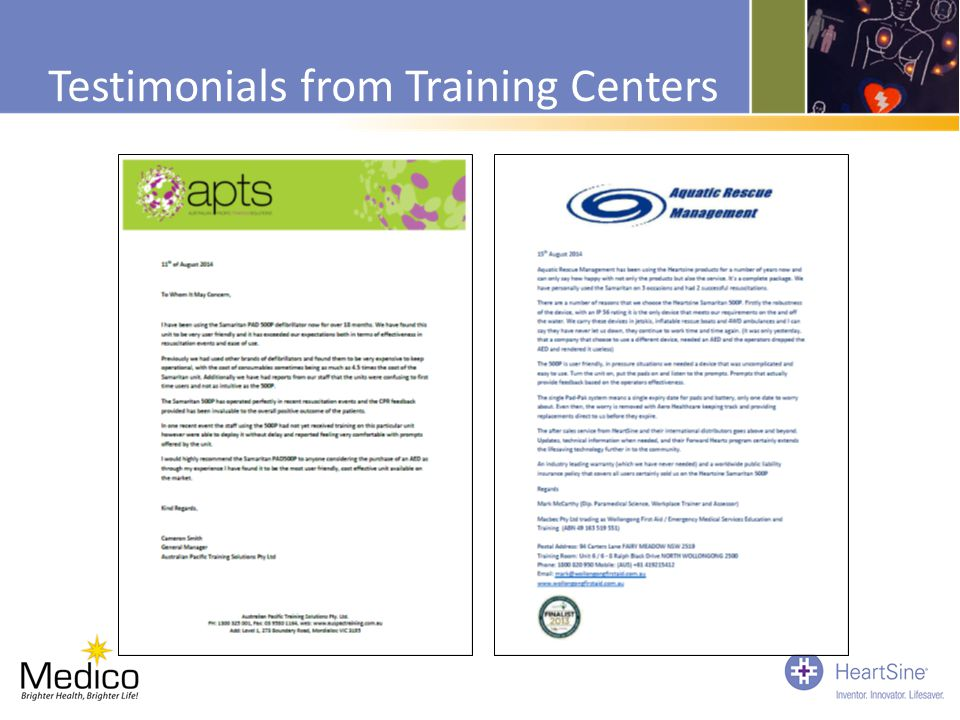 Testimonials from Training Centers