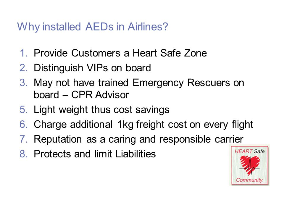 Why installed AEDs in Airlines