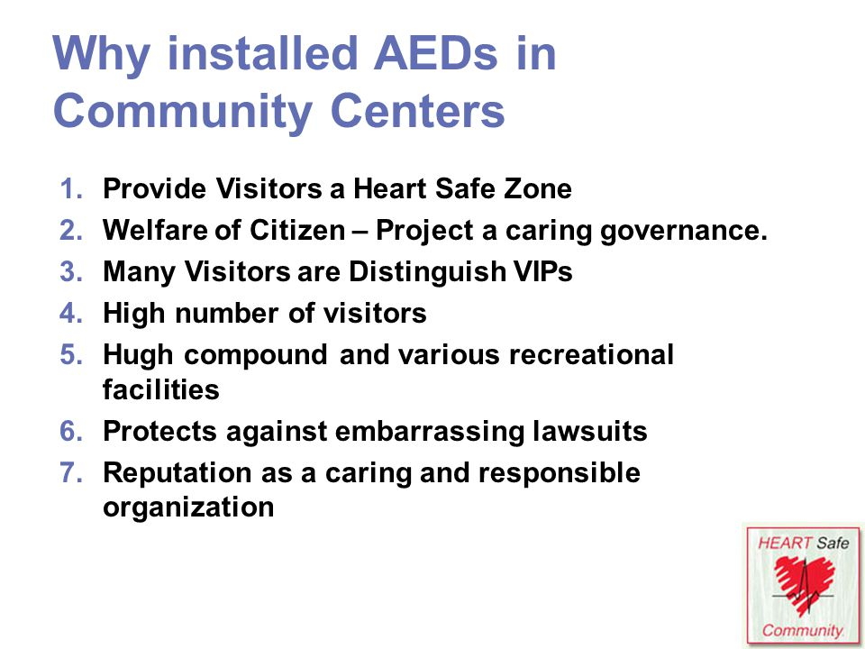 Why installed AEDs in Community Centers