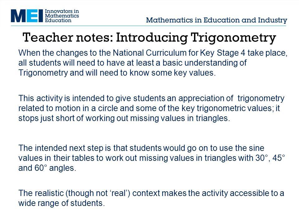Teacher notes: Introducing Trigonometry