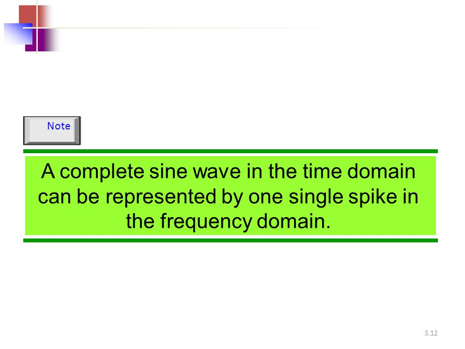Note A complete sine wave in the time domain can be represented by one single spike in the frequency domain.