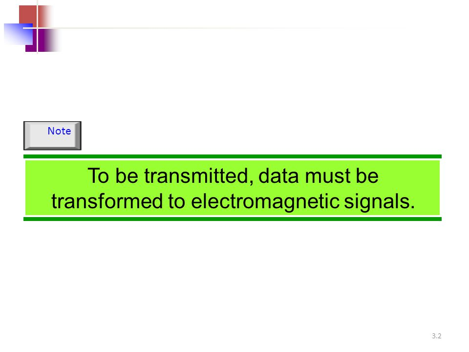 Note To be transmitted, data must be transformed to electromagnetic signals.