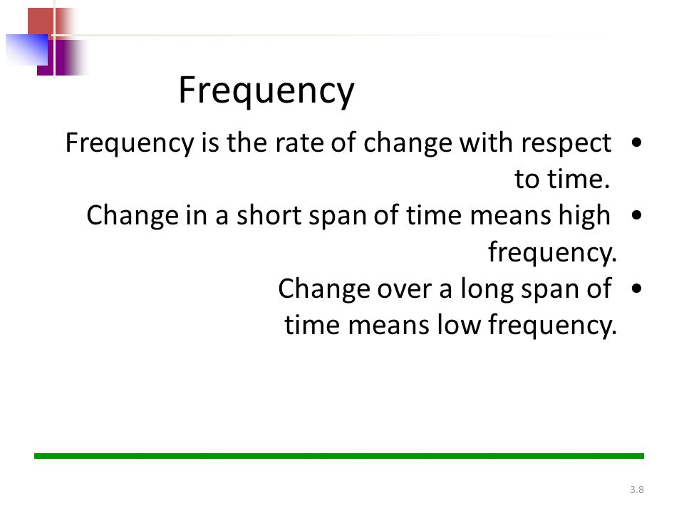 Frequency Frequency is the rate of change with respect to time.