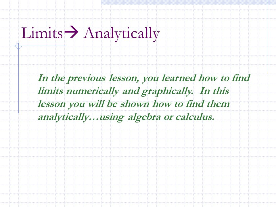 Limits Analytically