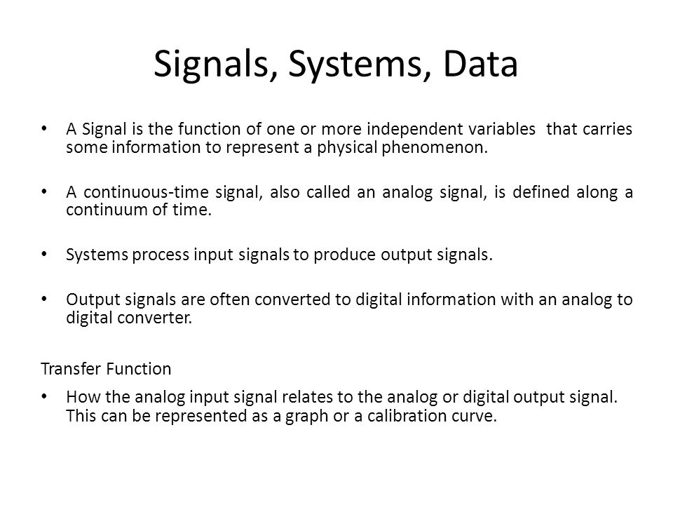 Signals, Systems, Data
