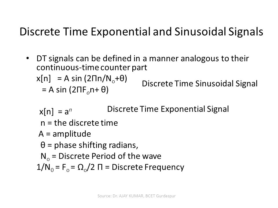 Discrete Time Exponential and Sinusoidal Signals