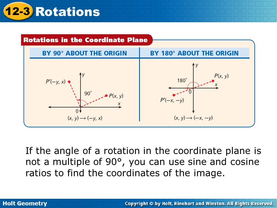 If the angle of a rotation in the coordinate plane is not a multiple of 90°, you can use sine and cosine ratios to find the coordinates of the image.