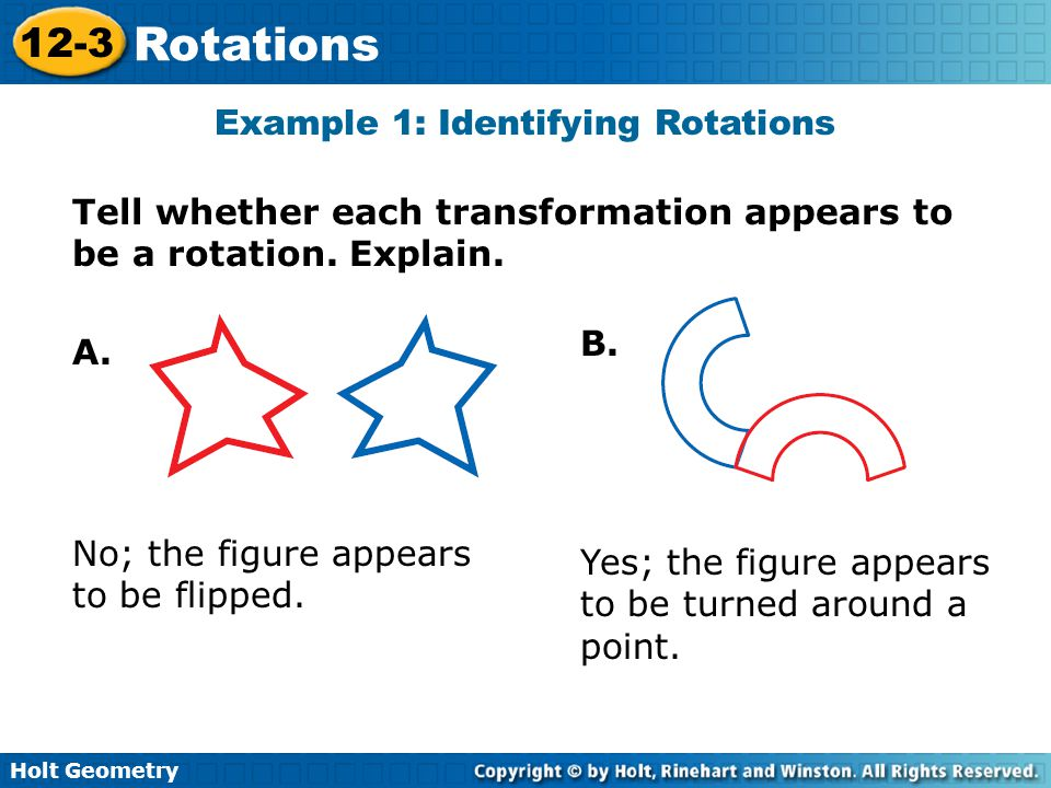 Example 1: Identifying Rotations