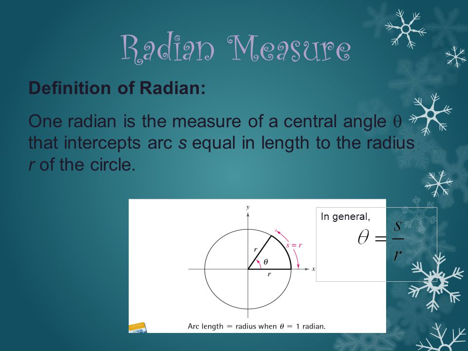 Radian Measure Definition of Radian: