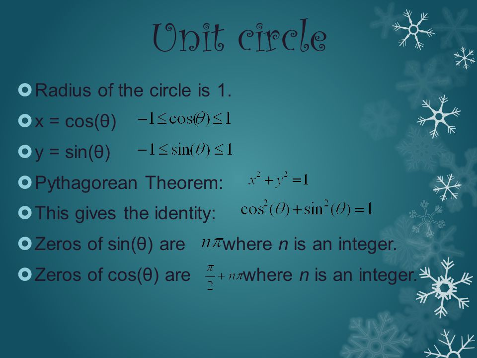 Unit circle Radius of the circle is 1. x = cos(θ) y = sin(θ)