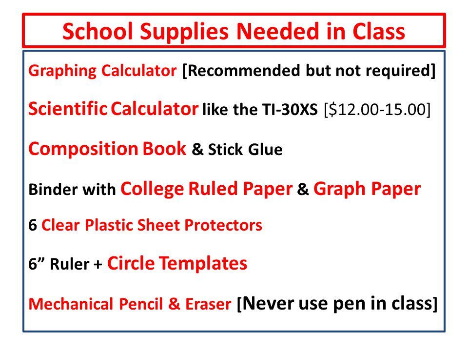 School Supplies Needed in Class