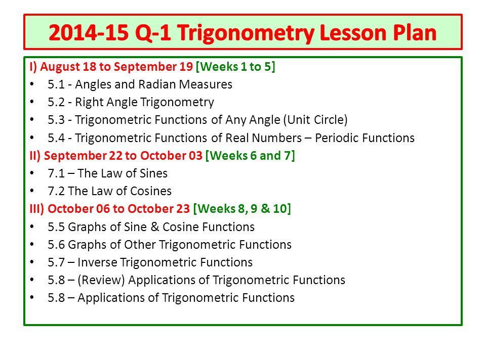 2014-15 Q-1 Trigonometry Lesson Plan